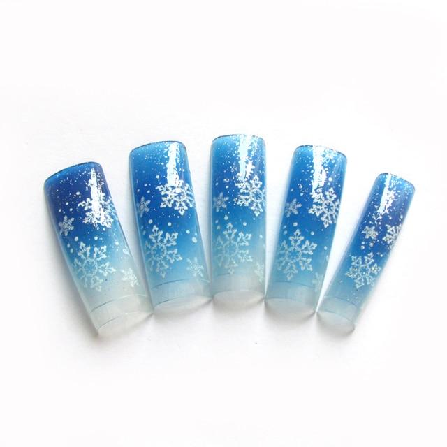 New Fake Nails Snowflake Pattern Glitter False Nail Tips French Nail ...