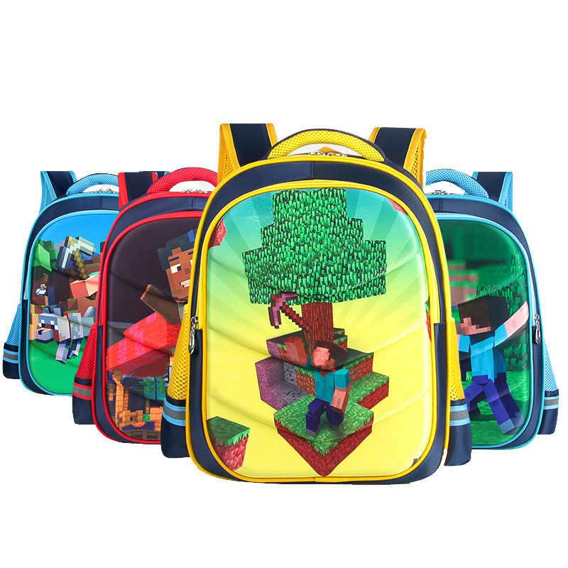 High Quality Children School Bag Minecraft Steve Print My World Cartoon  Children Backpack Children Gift Bag 527d11617d