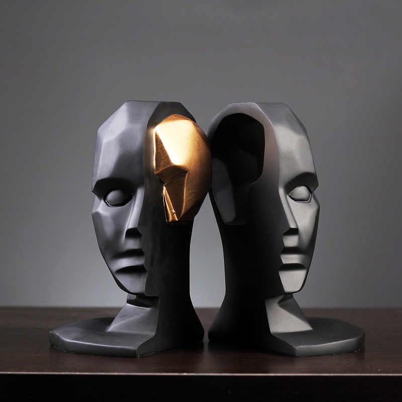 Creative Brain Hole Wide Open Statue Character Sculpture Abstractive Resin Crafts Gifts Figurines Home Decoration Accessories