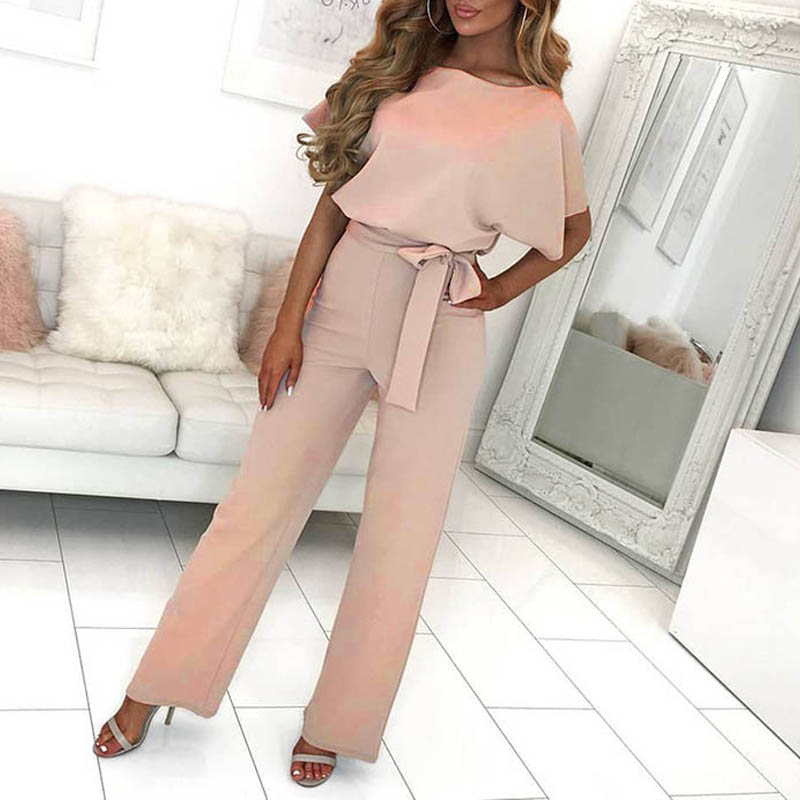 Female   Jumpsuits   for Women 2019 Short Sleeve Sashes   Jumpsuit   Womens   Jumpsuits   & Rompers Casual Lace Up Summer Playsuits New