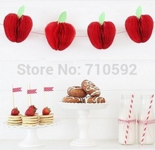 10pcs Red Apple Shape Honeycombs Decorations Tissue Paper Fruit Hanging Themed Party Supplies
