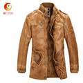 Men PU Leather Long Trench Coat  Retro Zipper Motorcycle PU Leather Mens Overcoat Mens Classic Leather Jacket Brand Clothing