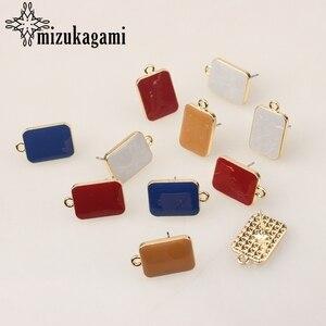 Zinc Alloy Golden Enamel Rectangle Geometric Earrings Base Earrings Connector 6pcs/lot For DIY Earrings Accessories