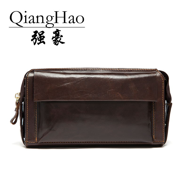 QiangHao Korea style 100% top cow leather men wallets vintage fashion big capacity good leather male purse free shipping cowather 100% top cow genuine leather men wallets 2017 men wallet crocodile embossed purse vintage designer male free shipping