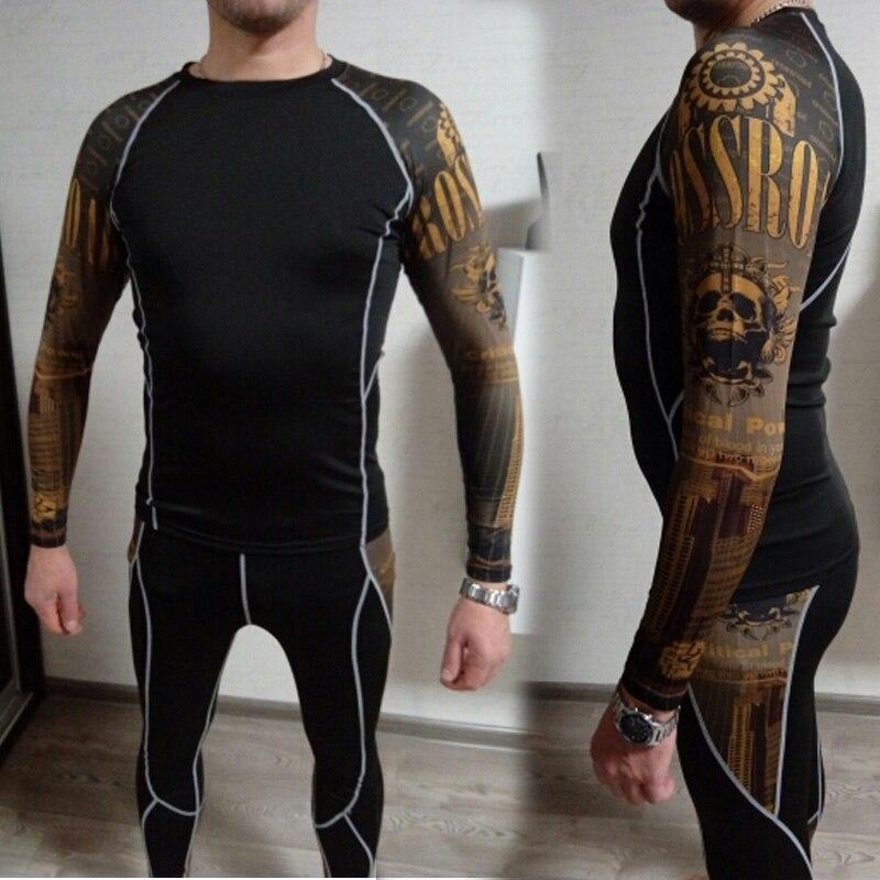 mma rashgard long sleeve thermal knitwear Set Tights Men's Compression Elasticity Dry Breath T-Shirt Tactical thermal underwear