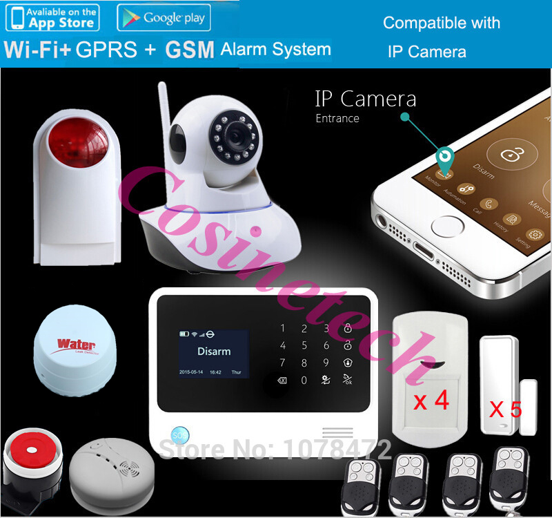 Original G90B PLUS WIFI GSM 3G alarm system GPRS,Touch keypad IOS Android APP controlled Home secure Alarm System with IP camera
