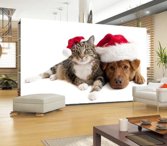 Free Shipping 3D stereo lovely cat dog wall painting wallpaper living room pet shop corridor entrance wallpaper mural