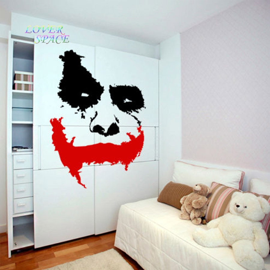aliexpress com buy vinyl wall decal scary joker face movie aliexpress com buy vinyl wall decal scary joker face movie batman the dark knight sticker mural wall sicker home decor huge wall art decorative from