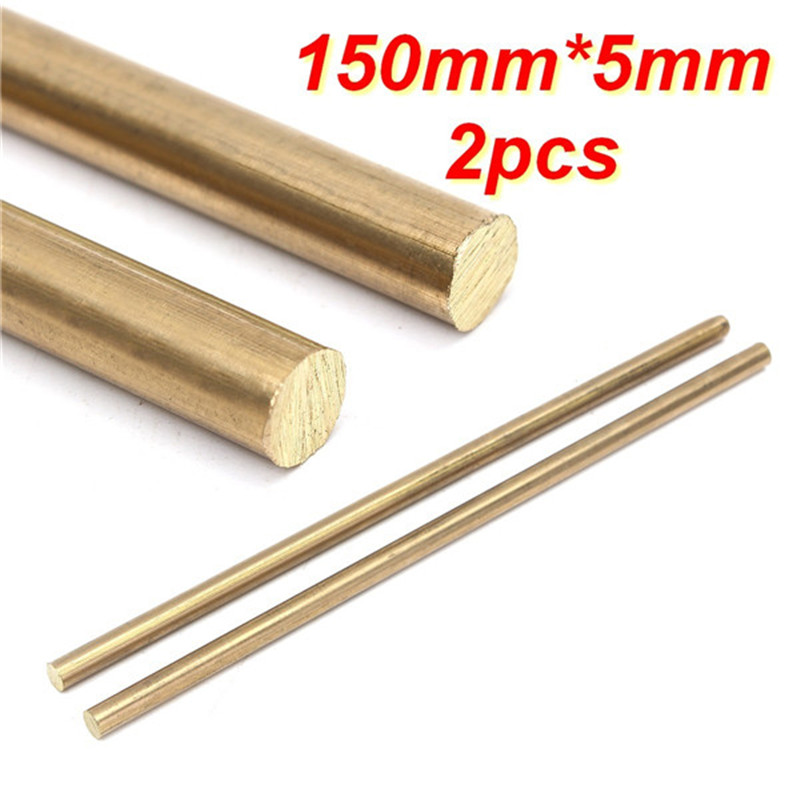 2pcs 150mm X 5mm  Brass Rods Bar Hardware Solid Round Rods Wires Sticks Gold For Repair Welding Brazing Soldering