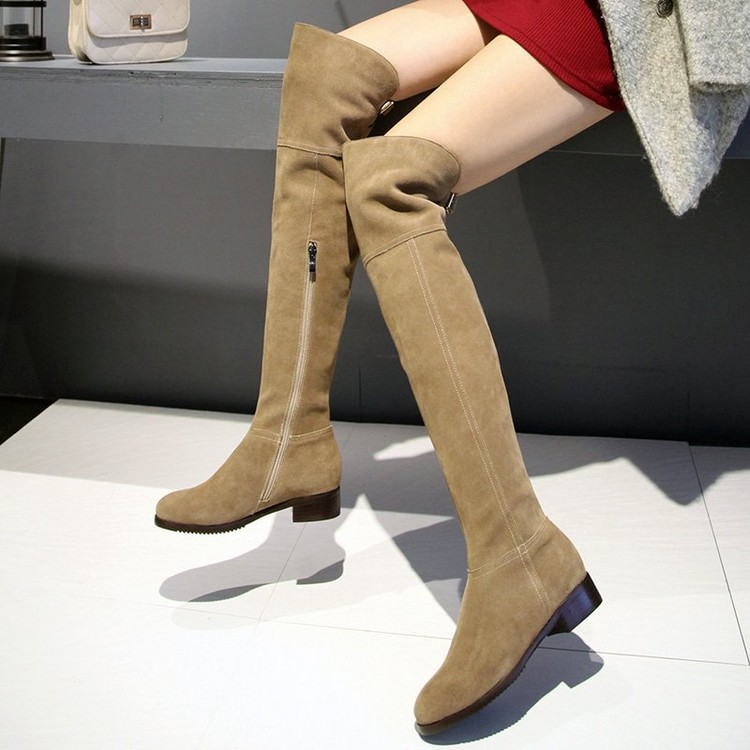 2016 New Winter Was Thin Female Low heeled Knee Boots High Boots Plus Velvet Matte Leather
