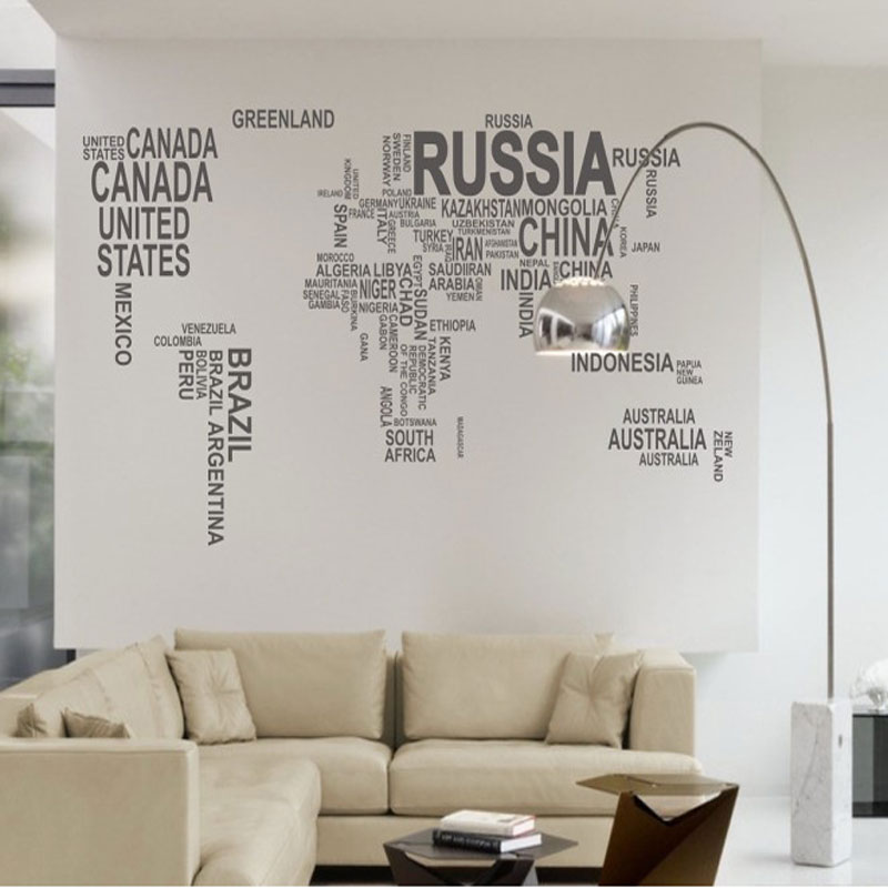 Black world map wall sticker for learning study wall art pegatinas black world map wall sticker for learning study wall art pegatinas de pared home decor maximum vinyl materials 190 116cm in wall stickers from home gumiabroncs