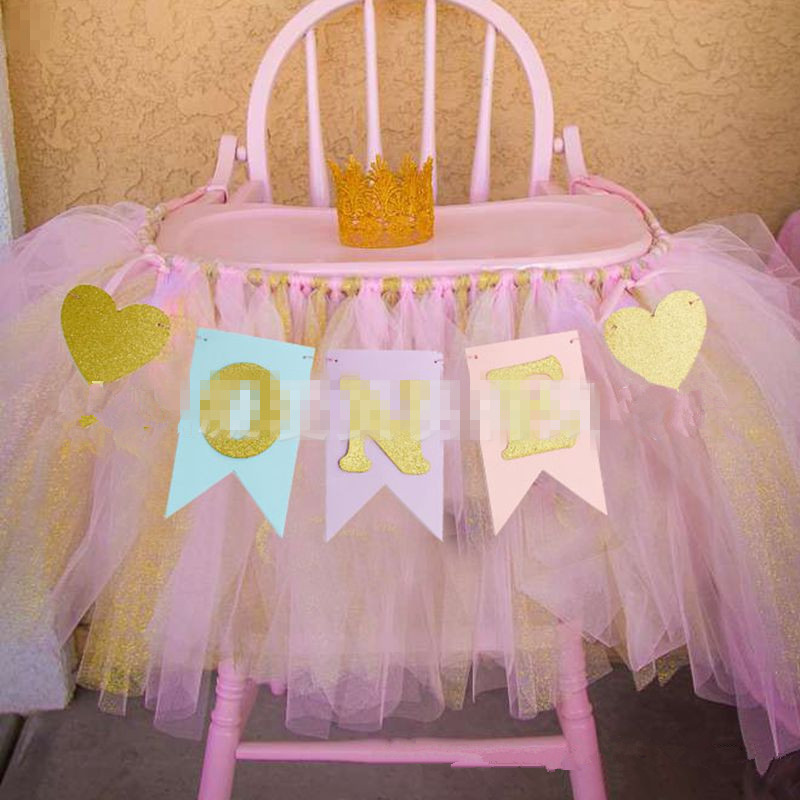 Baby First Birthday Party Girl Boy Chair Flag Banner Pink Blue One Year Birthday Hanging Bunting Celebrate Party Decoration