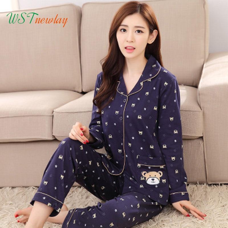 100 Cotton Autumn Women s Pajamas Set Sleepwear Girls Suit 2 Piece Causal Pyjamas Thin Long