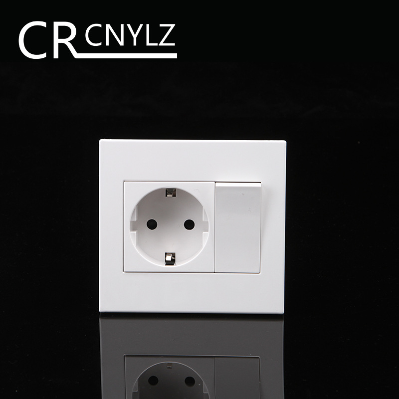 EU Household German Standard 2-hole Power Plug Wall Socket With 1Gang 1Way Switch Socket  86 * 92mm Flame Retardant Panel 16A