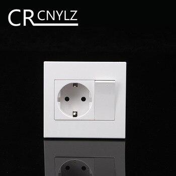 EU Household German standard 2-hole power plug wall socket with 1Gang 1Way Switch Socket  86 * 92mm flame retardant panel 16A