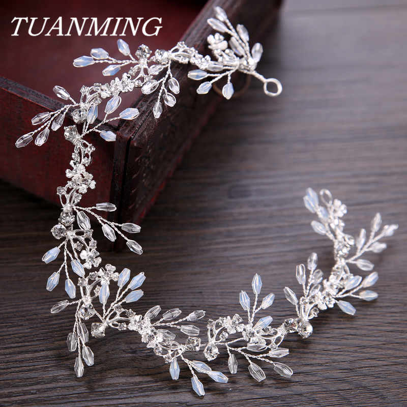 Bride Hair Band White Crytal Headband Wedding Bridal Hair Accessories Tiara Ornaments Wedding Headbands For Bride