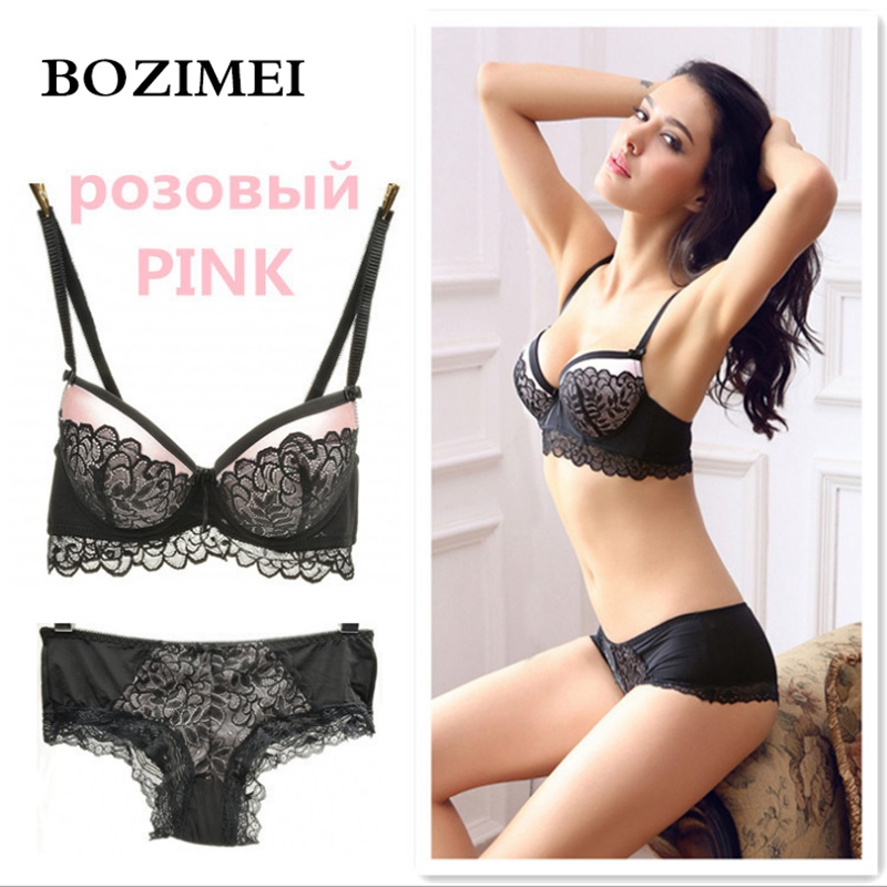 Elegant Romantic Bra Set For Women Trace Lace Push Up Sexy Underwear Sets intimates Black Red Color Bra And Panty Set B C Cup