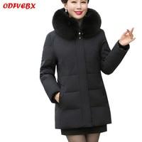 2020 size 6XL Women down jacket middle aged Women park Coat Thick Parka fox fur Collar winter Parkas warm Cotton jacket Female