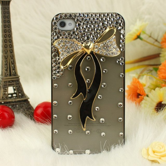 Fashion phone Case Cover for iphone 5/5G,ribbon butterfly bowknot,2colour,bling rhinestone Crystal Diamond pearl /Free shipping