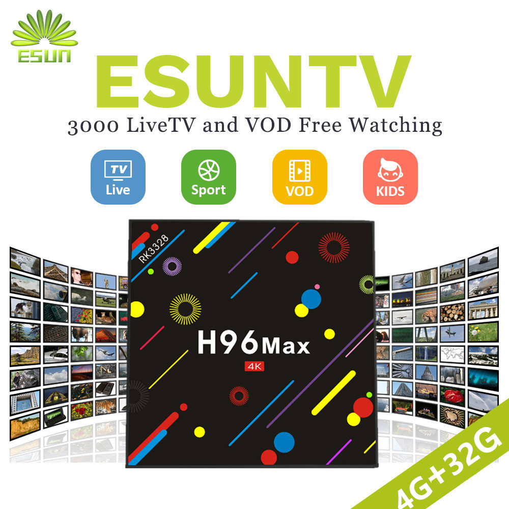 2018 New H96 MAX Android 7.1 TV BOX 4/32G With 1 Year Germany/Europe/Albania/French/UK/Sweden/EX-yu/US/XXX IPTV VOD set top box 2000 italy tv kb2 android tv box 2gb 32gb amlogic s912 spain uk europe italyvod portugal ex yu albania xxx set top box
