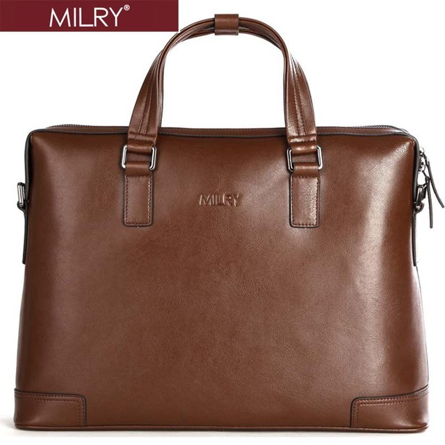 Free shipping Brand MILRY 100% Genuine Leather Business men Briefcase handbags messenger shoulder laptop bag Coffe CP0015-2