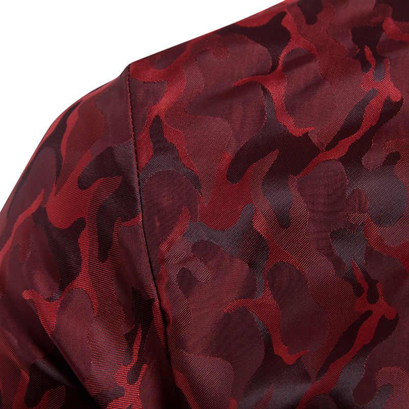 ワイン赤迷彩迷彩シルクサテンシャツ男性スリムフィット長袖ドレスシャツメンズカジュアル社会党クラブシュミーズオム Xxxl
