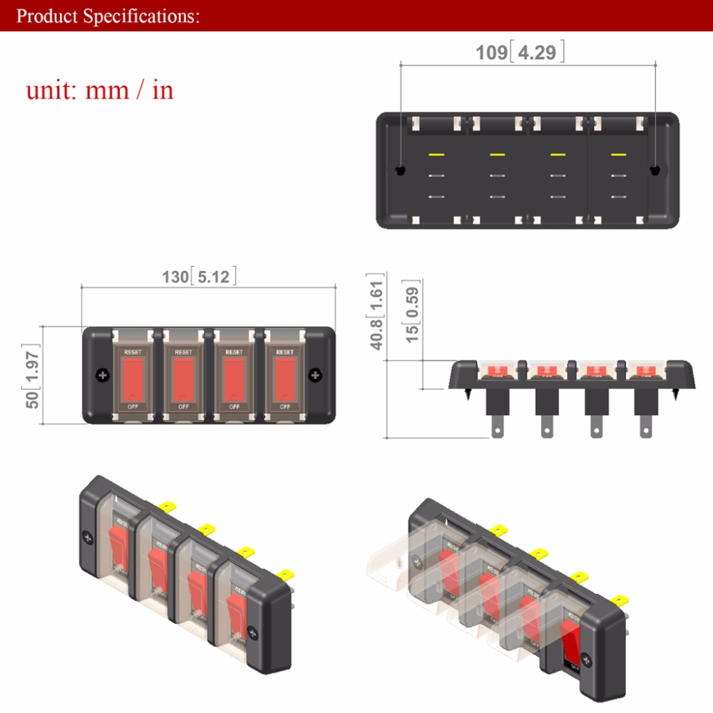 small resolution of 12v 16a 4 gang panel waterproof red led power switch circuit breaker with fuse for boat car suv switch high qaulity c45 in car switches relays from