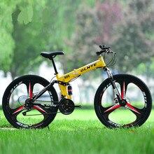 חדש X-מול 26 אינץ פלדת פחמן דעיכת מתקפל מסגרת אופני הרי אופניים 27 מהירות דיסק בלמי גלגל אחד MTB bicicleta