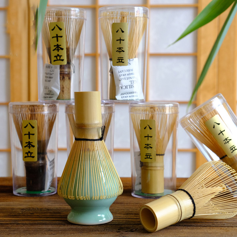 Japanese Ceremony Bamboo 64 Matcha Powder Whisk Green Tea Chasen Brush Tool Coffee Grinder Brushes