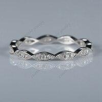 1/10ct Aniversario Band Milgrain anillo de Las Mujeres Anillo de Diamantes Sólido 14 K Oro Blanco Tamaño 5