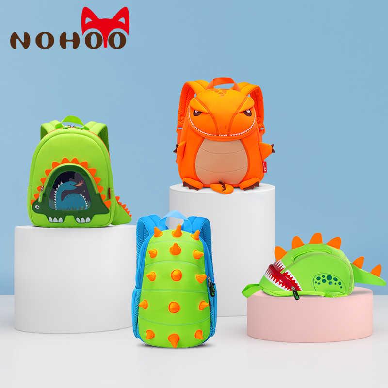 NOHOO Criança Crianças Mochila para Meninos Crianças Dinossauro Dinossauro Brinquedos Saco Bookbag 3D Meninas Dos Desenhos Animados Mochila Escolar À Prova D' Água