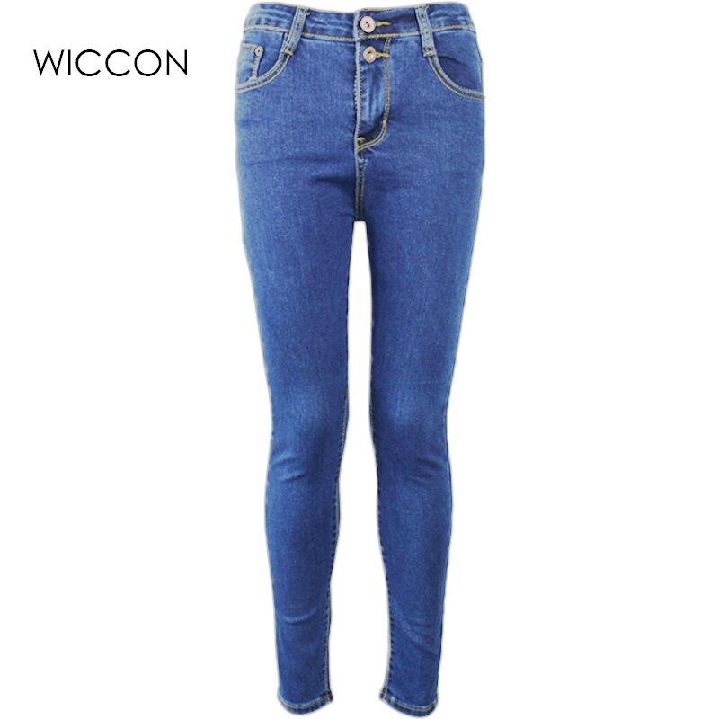 Autumn Women High Waist Jeans Casual Denim Skinny Warm Jeans  Pencil Pants casual skinny denim pants slim female trousers