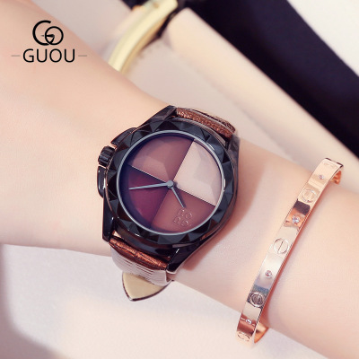 GUOU Luxury Brand Watch Fashion Women Watches Casual Quartz Watch Ladies Girl Famous WristWatch Female Clock Relogio Feminino guou 2018 new quartz women watches luxury brand fashion square dial wristwatch ladies genuine leather watch relogio feminino