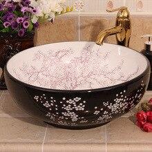 Lavabo de cerámica de estilo Vintage de China, lavabo de encimera, lavabo, lavabo, tocador, encimera de cerámica, lavabo