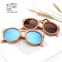 Солнцезащитные очки в ретро стиле для мужчин и женщин, с деревянной оправой в виде зебры и позвоночника, с круглыми линзами UV400, 2018