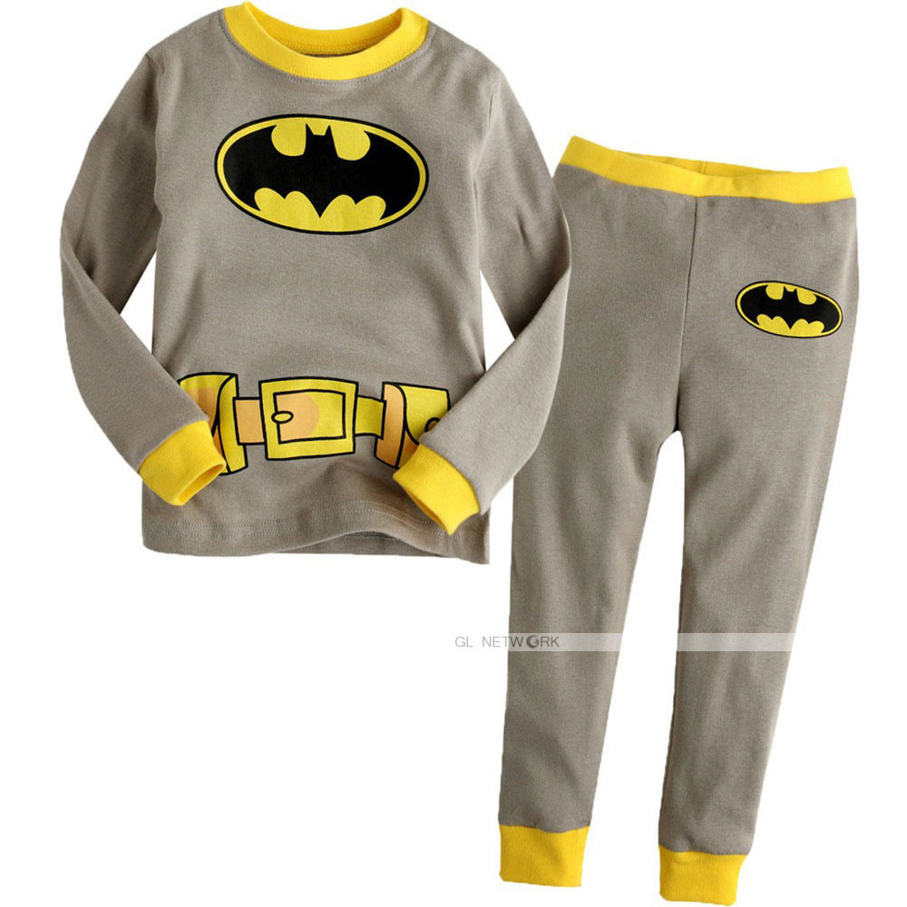 Cartoon Bat Man Pajamas Set Autumn Winter Baby Boys Sleepwear Children Character Pyjamas ...