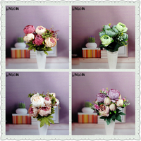 New Arrive Silk Flower European Bouquet Artificial Flowers Fall Vivid Peony Decorative Flowers For Wedding Home Party Decoration