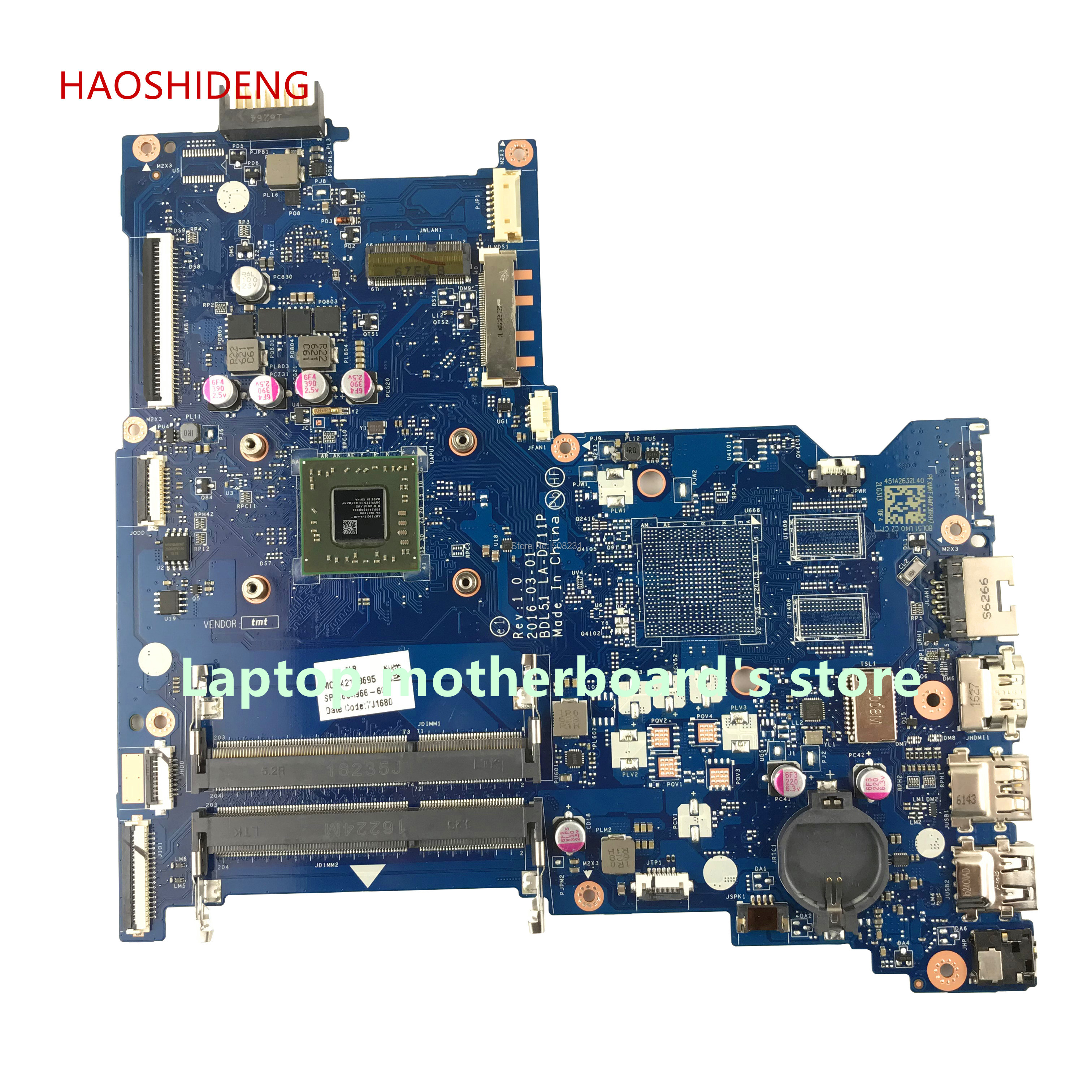 цена на HAOSHIDENG 854966-601 854966-001 BDL51 LA-D711P mainboard for HP NOTEBOOK 15-BA PC Laptop motherboard A6-7310 fully Tested