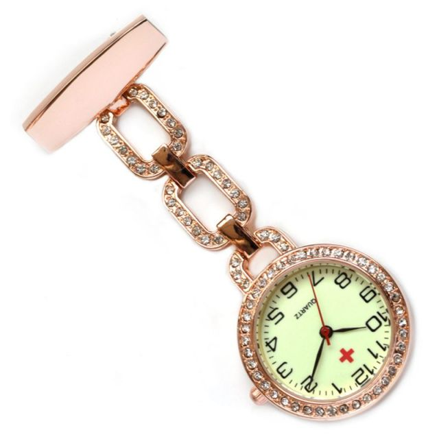 Luminous Nurses Watches Doctor Clip-on Fob Quartz Watch Steel Noctilucent Brooch