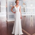 Vintage Long white Beach Chiffon Wedding Dresses 2017 Bridal Gowns Vestidos De Noiva Robe De Mariage weddingdress