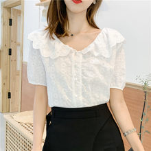 Summer 2019 New Short Sleeve Cotton Shirt Fashion Women Tops White Cotton Lace Office Female Blouse Shirt Women's Clothing 931G7(China)
