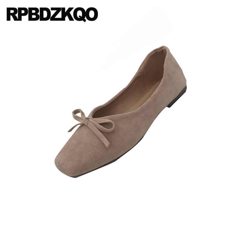 Bowtie pelle scamosciata cina ballerina cinese vintage scarpe a punta quadrata scarpe delle signore nude rosa morbido fiocco balletto appartamenti delle donne 2019 slip on designer
