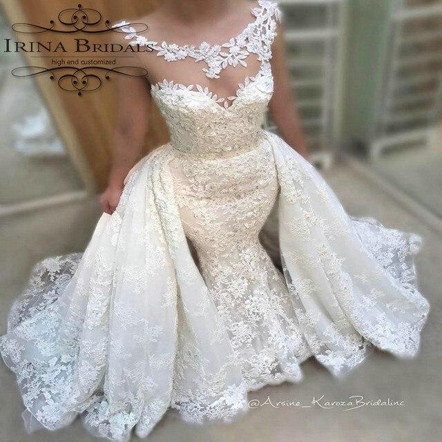 beadind vestido de noiva cap manga de encaje con aplicaciones