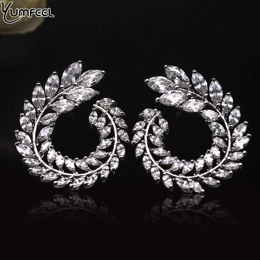 Yumfeel S925 Silver Post Sparkly Olive Branch Leaf Shape Marquise Cut Cubic Zirconia Stud Earrings Women Fashion Jewelry Gifts pair of stylish cut out simple guitar shape stud earrings