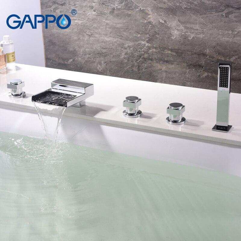 GAPPO Bathtub faucet bathroom waterfall deck mounted mixer shower tap bath shower head Bath tub taps rain shower setGAPPO Bathtub faucet bathroom waterfall deck mounted mixer shower tap bath shower head Bath tub taps rain shower set