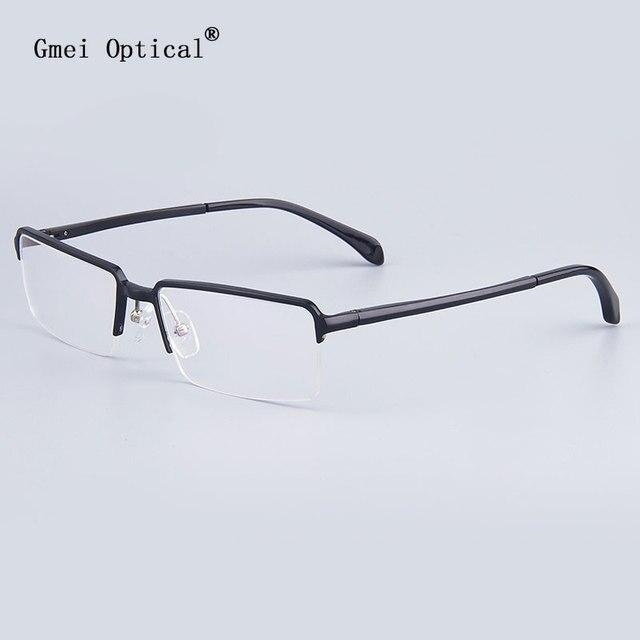 Brand Optical Frames Business Men Glasses Frames Women Hydronalium Rectangular Full-Rim Glasses Frames With Spring Hinge On Legs