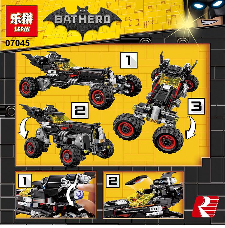 Nueva Lepin 07045 559 Unids de marvel avengers super heroes Serie Movie El Batman Robbin Móvil Conjunto de Bloques de Construcción Ladrillos juguetes