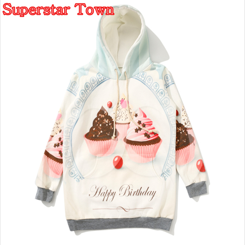 Women Sweatshirts Fleece Ice Cream Hoodie Winter Coat Kawaii Sweatshirt Female Hoodie Harajuku Pullover Feminino Moleton