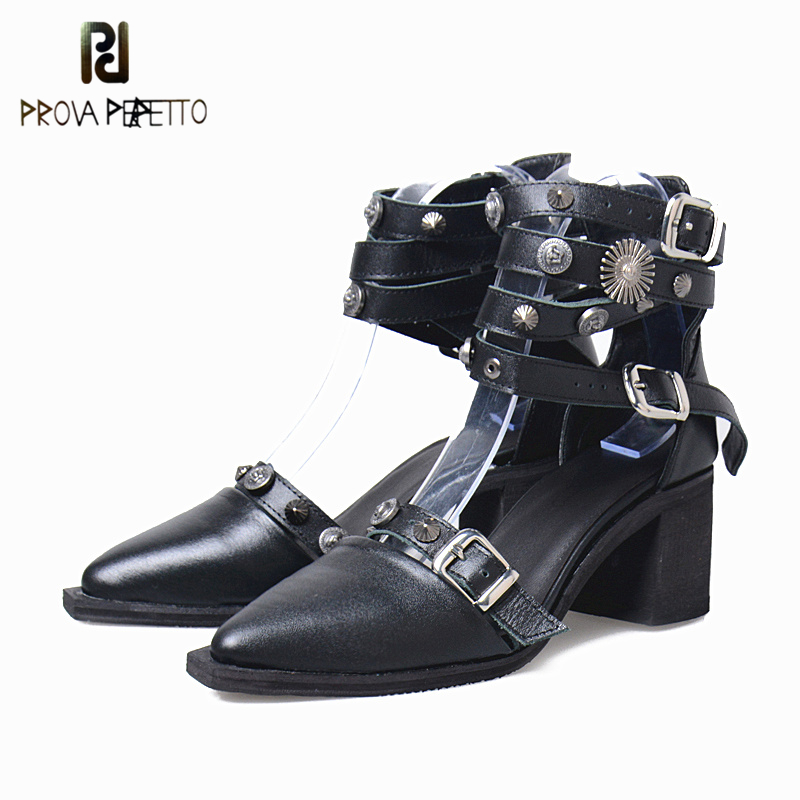 Prova Perfetto 2019 夏浅いリベットハイヒールシングルシューズポインテッドトゥベルトバックル靴オフィス Med ハイヒール黒の靴  グループ上の 靴 からの レディースパンプス の中 1