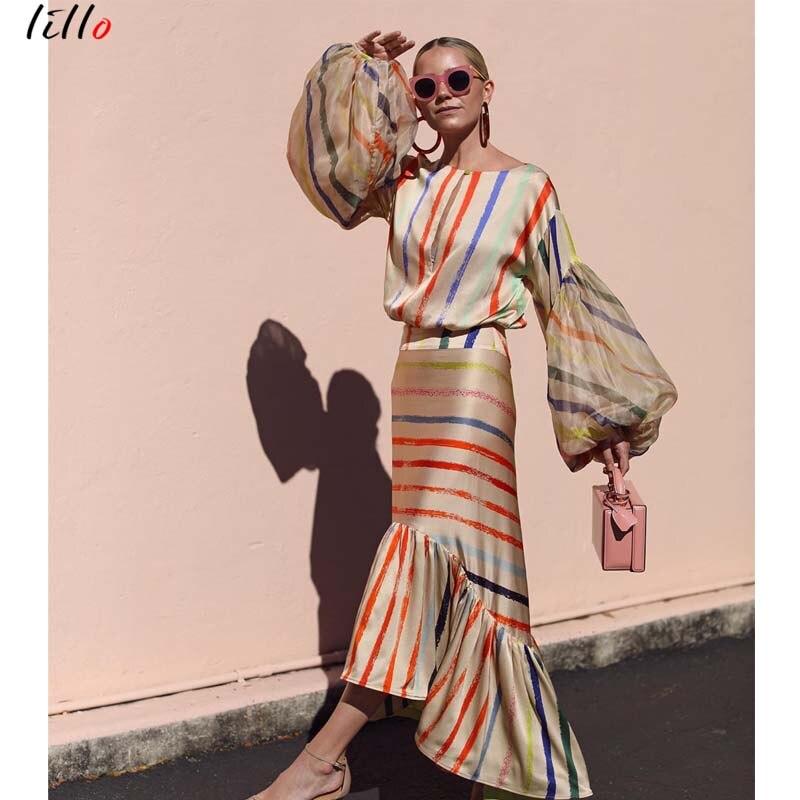 Image 4 - AsymmetricalLantern スリーブストライプドレスファッションカジュアル気質夏ドレスフリル新潮流 2019 ユニークなデザインセクシーなドレス -    グループ上の レディース衣服 からの ドレス の中